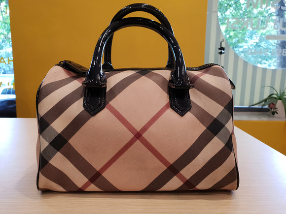 Burberry check boston bag