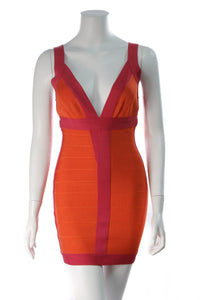 Herve Leger Billie Colorblocked Bandage Dress Pink Orange Size Small