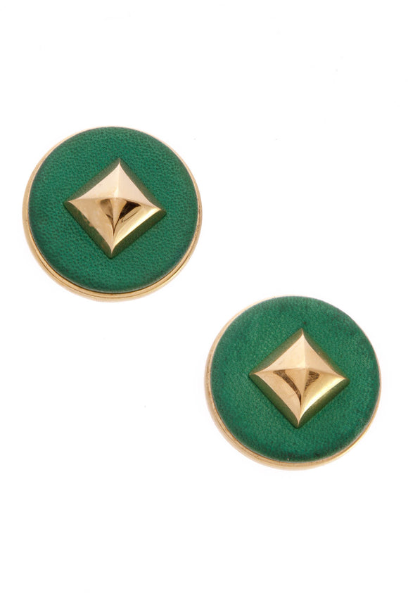 hermes-vintage-spike-clip-on-earrings-green