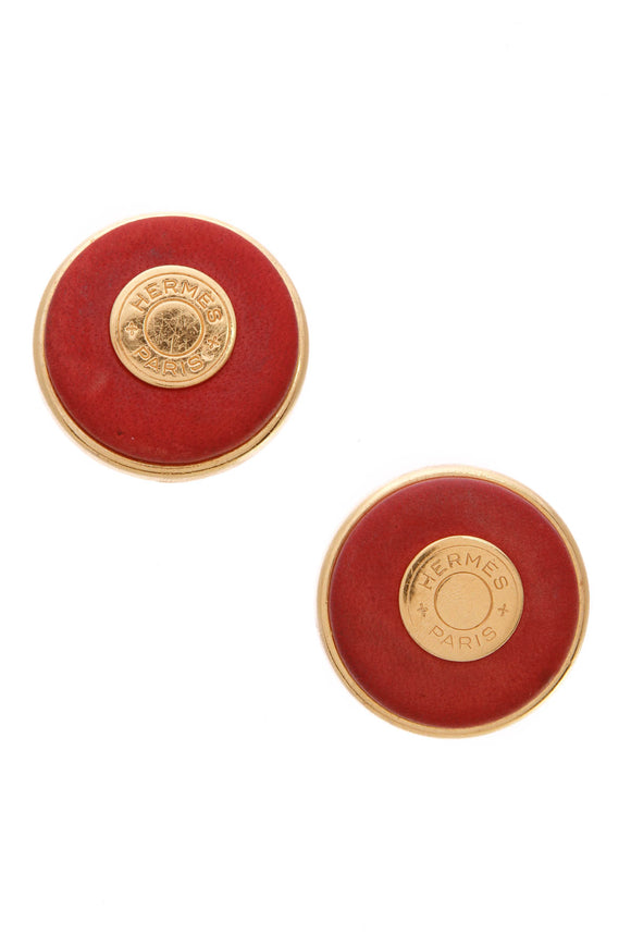 hermes-vintage-gold-tone-metal-red-leather-sellier-clip-on-earrings
