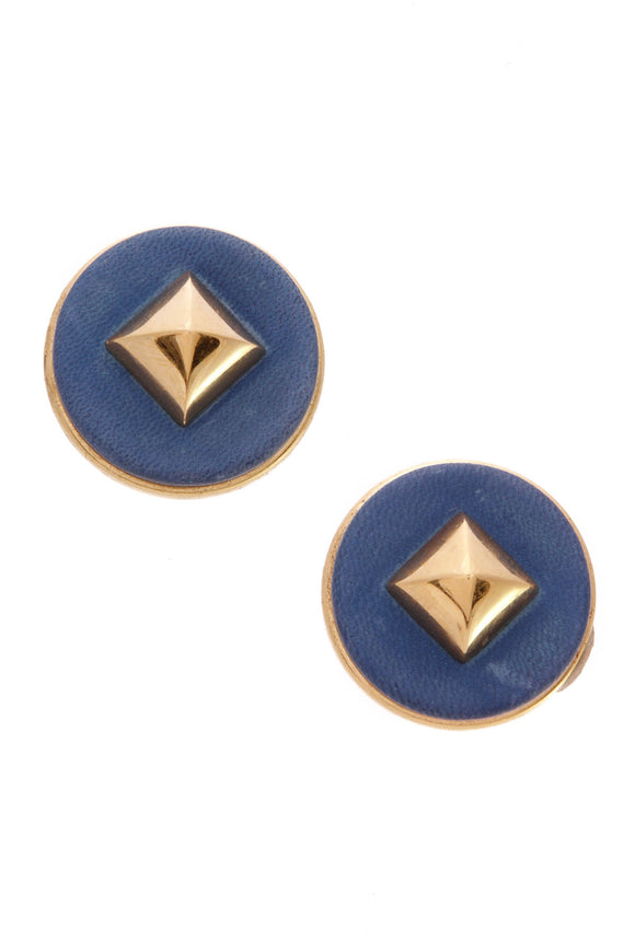 hermes-vintage-spike-clip-on-earrings-blue
