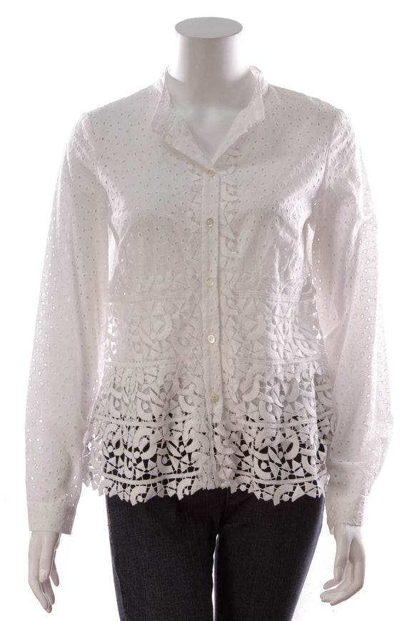 Oscar de la Renta Lace Blouse Top White Size 8