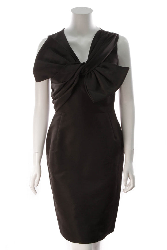 Oscar de la Renta Bow Cocktail Dress Black Size 6