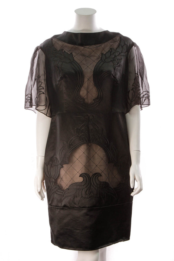 Temperley London Sheer Inserts Dress Black Size 14