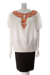 Escada Beaded Top White
