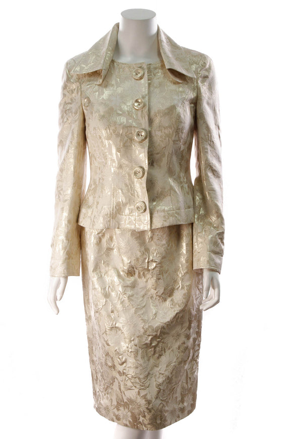 Escada Floral Jacket Dress Set Gold Size 38