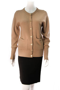 Chanel Cashmere Cardigan Tan