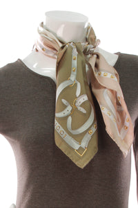 Studded GG Silk Scarf - Brown