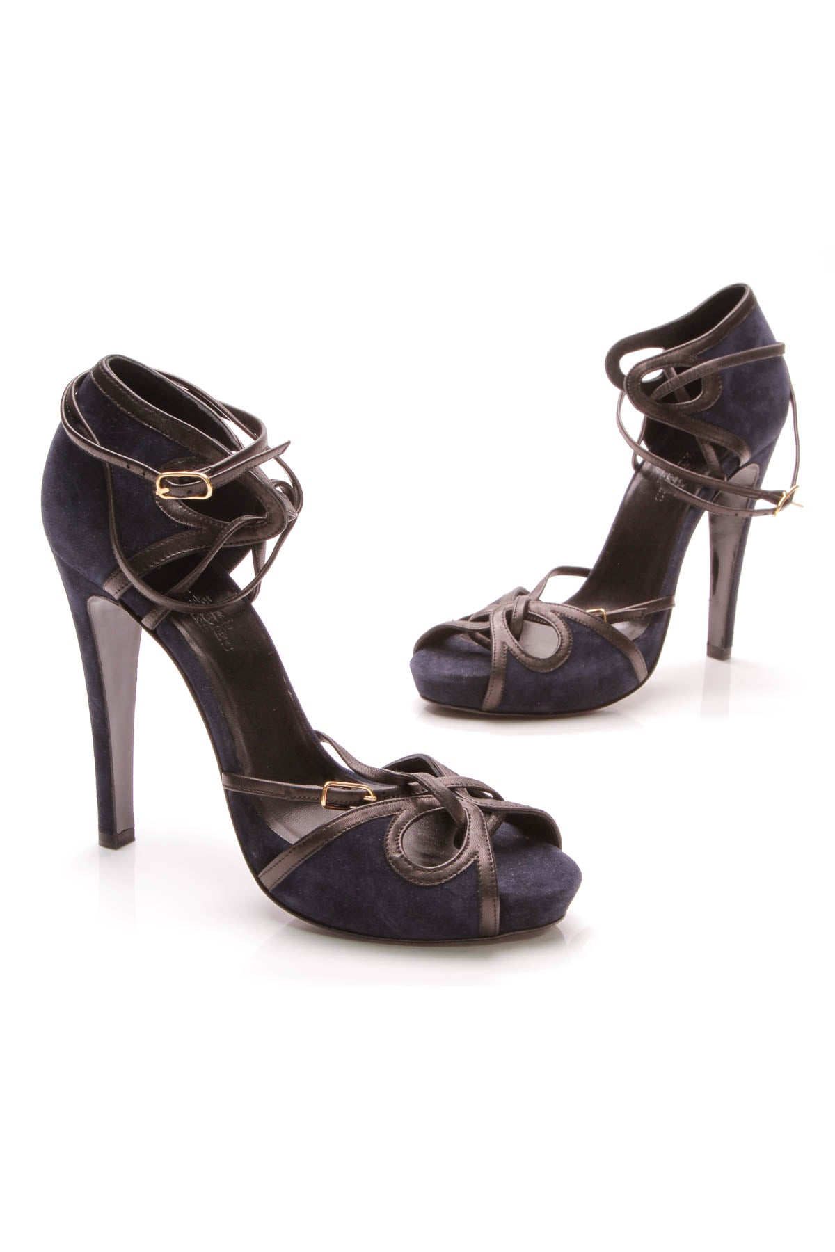 37725c9fe4 Hermes Strappy Platform Sandals - Navy Suede Size 38 – Couture USA