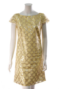Red Valentino Metallic Shift Dress Yellow Size 6