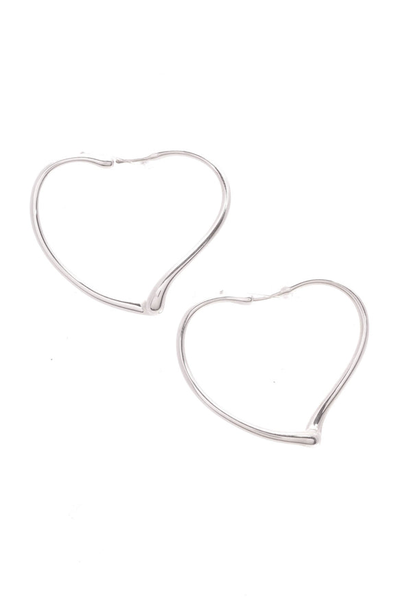 Tiffany & Co. Elsa Peretti Open Heart Hoop Earrings Sterling Silver