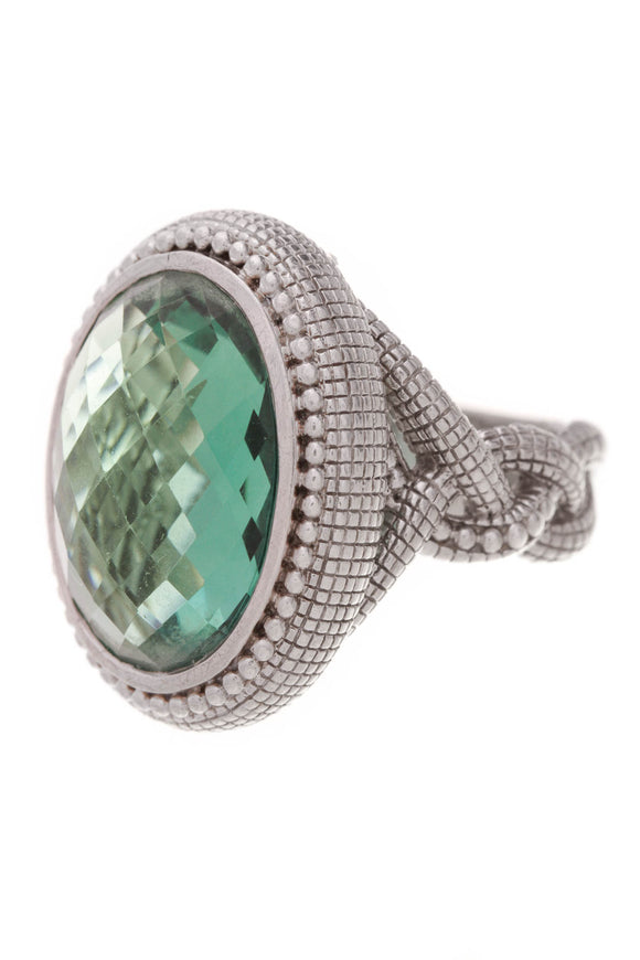 Judith Ripka Green Quartz Ring Sterling Silver