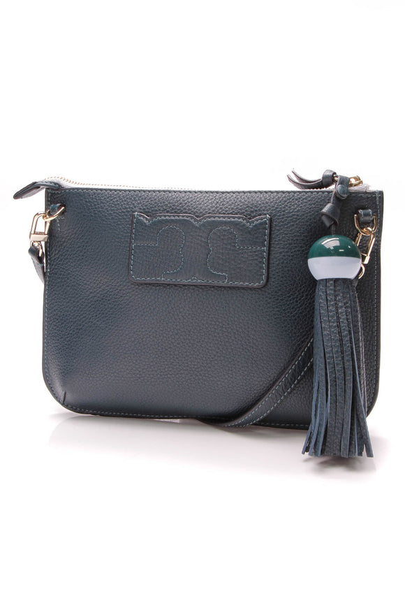 Tory Burch Tassel clutch bag oceano blue green