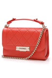 Chanel Label Click Crossbody Bag Small Red Leather