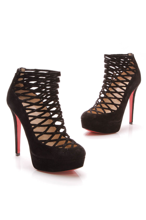 Christian Louboutin Berlinissimo 140 Booties Black Suede