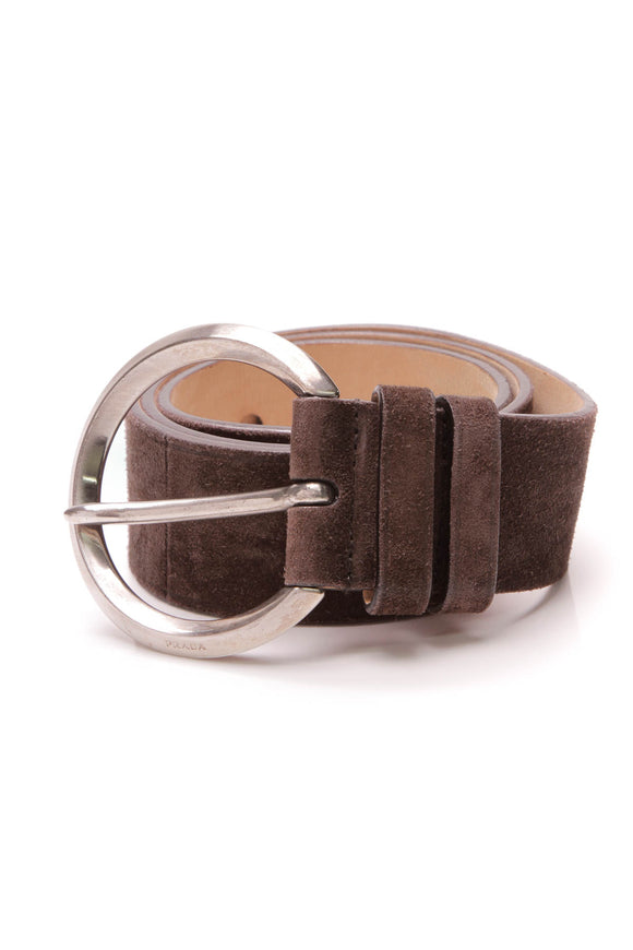 Prada Brown Suede Belt