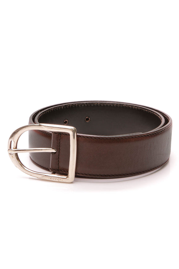 Gucci Stirrup Buckle Belt Brown Leather