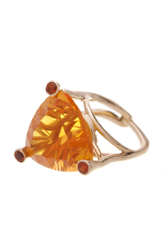 Citrine Quartz Cocktail Ring 18K Gold