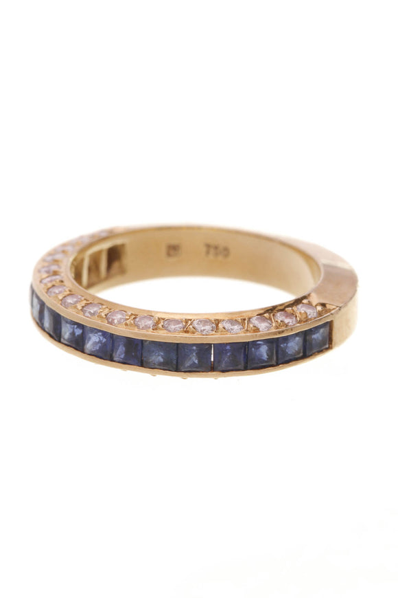 Sapphire Band Ring 18K Yellow Gold Blue Sapphire