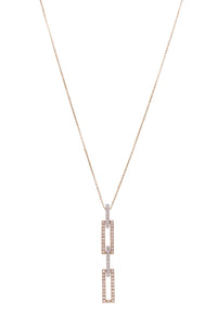 Drop Link Necklace 18K Yellow Gold Diamond