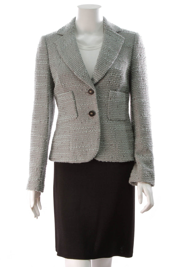 Escada Seafoam Tweed Jacket Green