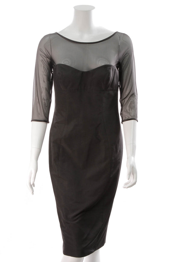 Escada Mesh Panel Dress Black