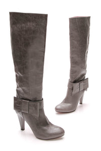 Valentino Tall Bow Boots Gray Leather