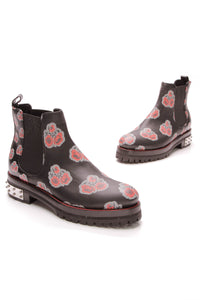 Alexander McQueen Chelsea Boots Rose Print Leather Studded