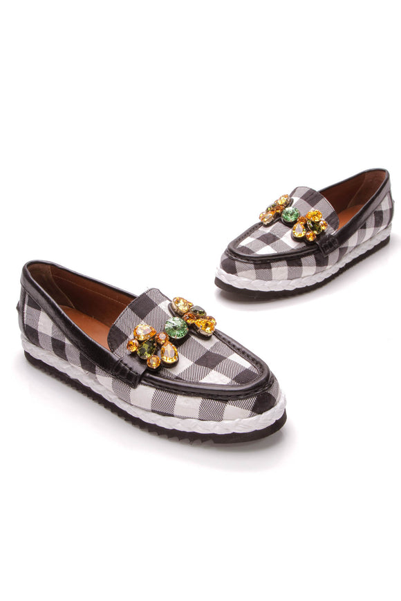 Dolce and Gabbana Gingham loafers jewel embellished black white
