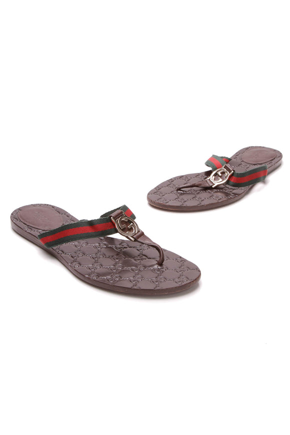 Gucci interlocking GG Web Thong sandals Brown