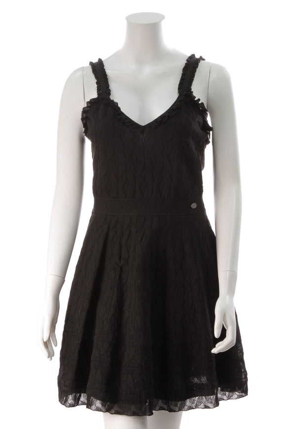 Chanel Lace Trim Dress Black