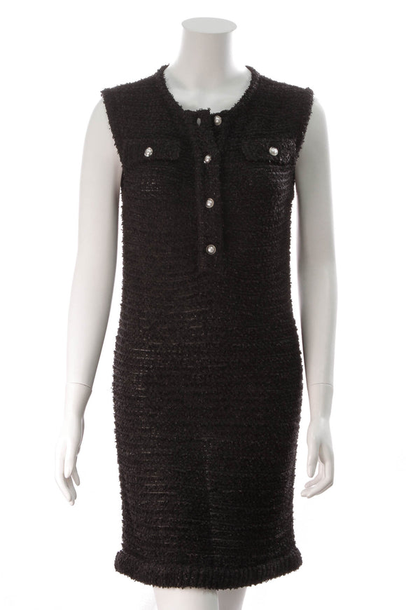 Chanel Tweed Pearl Button Dress Black