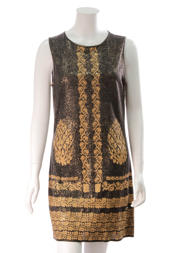 Chanel Metallic Gold Patterned Dress Black