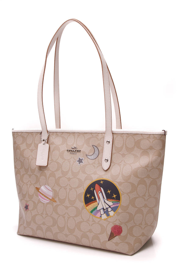 Coach City Zip Tote Signature Canvas Space