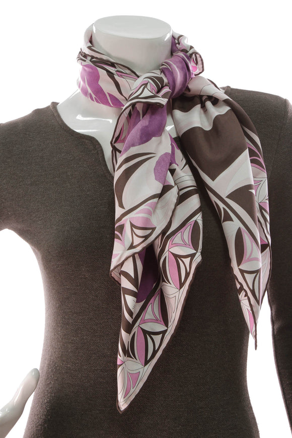 Emilio Pucci silk scarf pink purple black