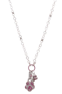 Palmiero pave lock necklace white gold