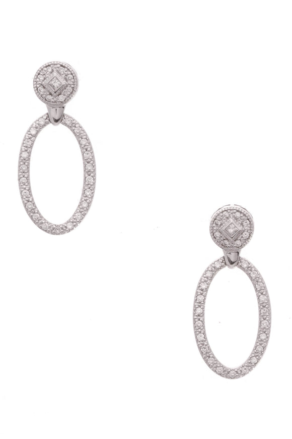 Charriol oval drop diamond earrings 18k white gold