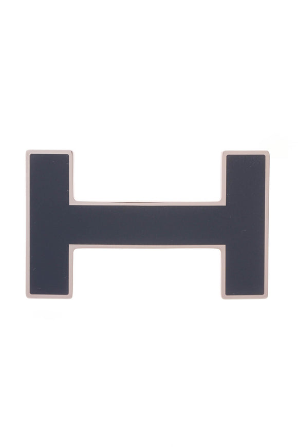 Hermes H Quizz Belt Buckle Navy Blue Enamel