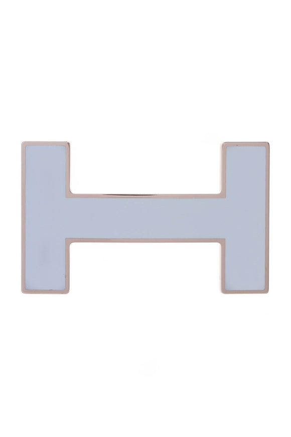 Hermes H Quizz Belt Buckle Light Blue Enamel