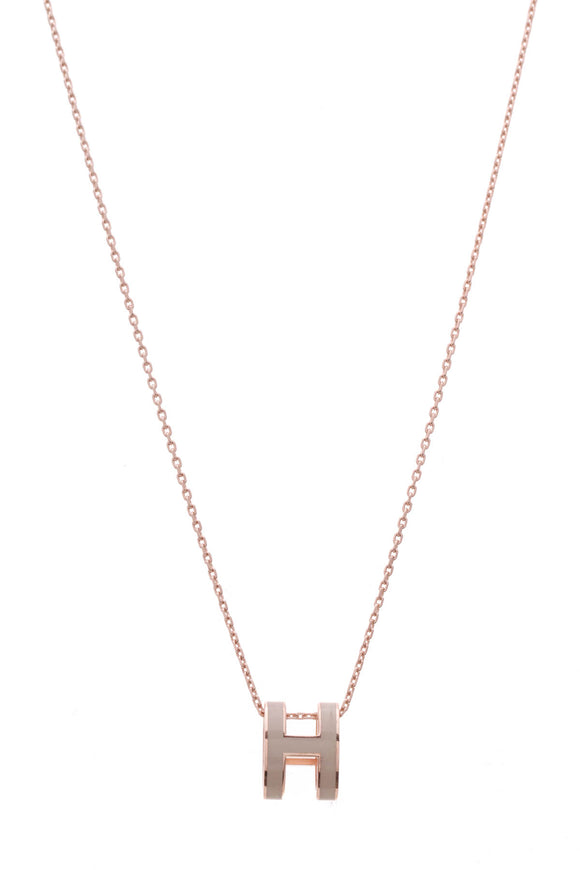 Hermes Pop H Pendant Necklace Rose Gold Plated Marron G Enamel