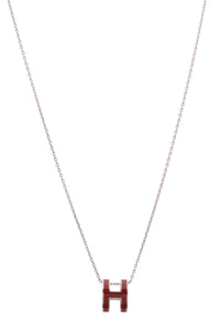 Hermes Pop H Necklace Red enamel palladium