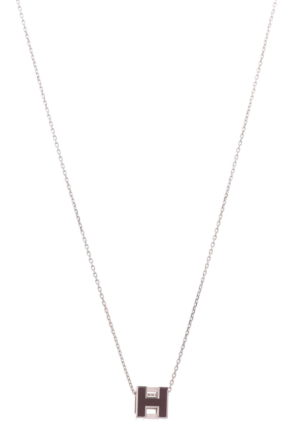 Hermes Caged H Necklace Palladium Plum Enamel