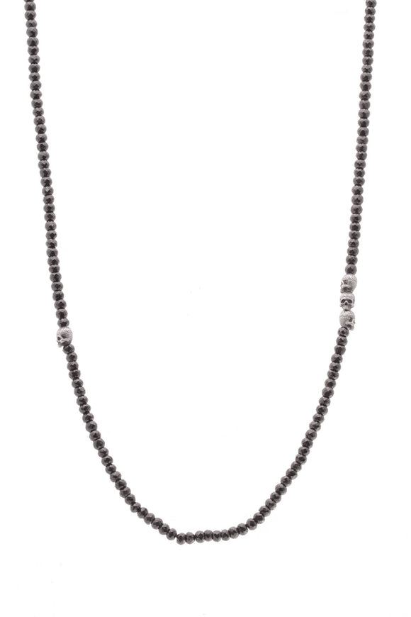 David Yurman Skull Station necklace black bead silver