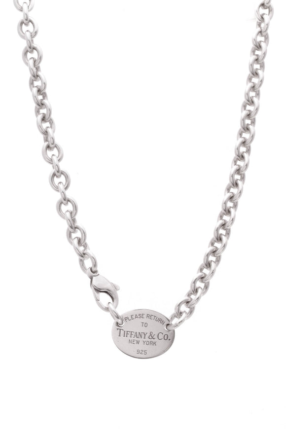 Tiffany & Co. sterling silver Return to Tiffany Oval Tag necklace