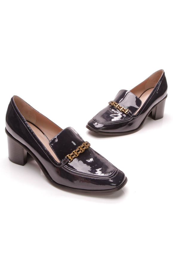 Tory Burch Gemini Link Heeled Loafers Navy Blue Patent