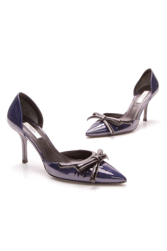 Prada d'Orsay Pumps Navy Patent Leather Size 38