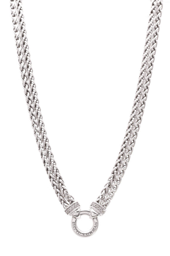 David Yurman Double Wheat Chain Necklace Diamond Silver