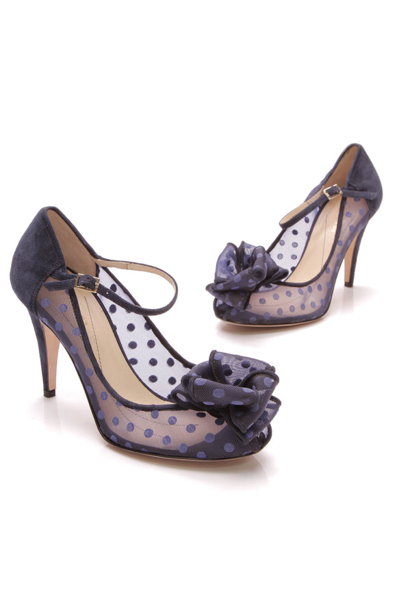 Kate Spade Didi Mary Jane heels blue suede