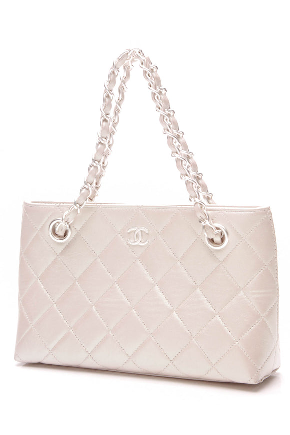 Chanel Small Pearlescent Tote bag white calfskin