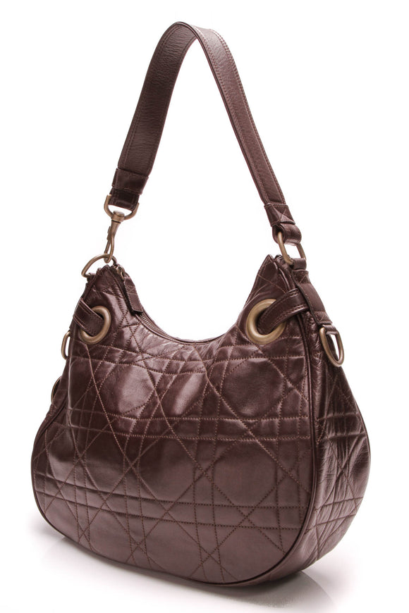 Christian Dior Cannage leather large hobo bag brown